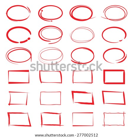 red circles, red square frames, hand drawn highlighter elements, vector illustration - stock vector