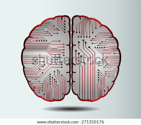 red circuit board brain. Abstract Technology background for computer graphic website internet and business. vector illustration. white background - stock vector