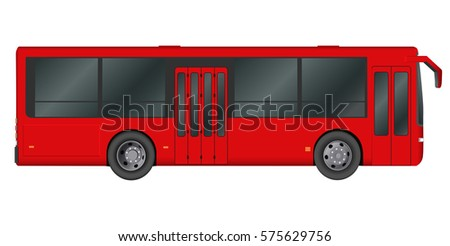 Red City bus template. Passenger transport. Vector illustration eps 10 isolated on white background.