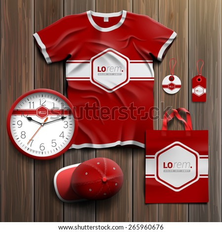 Red classic promotional souvenirs design for corporate identity with white central element and horizontal line. Stationery set - stock vector