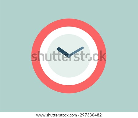 Red clock vector logo icon isolated. Watch object, time and office symbol. Time logo, Watch logo. Clock logo. Clock icon. Clock logo. Clock time vector icon. Timer clock isolated. Clock silhouette - stock vector