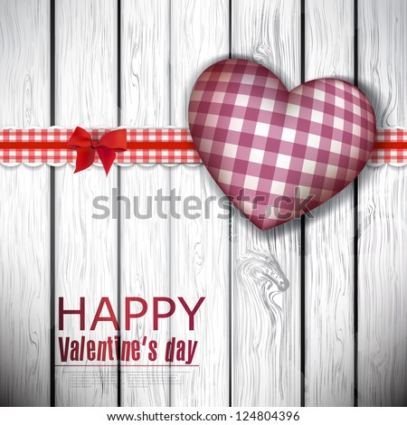 Red cloth handmade hearts on wooden background. Valentines day. Vector - stock vector