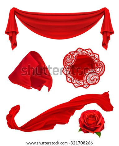 Red cloth, vector illustration set - stock vector