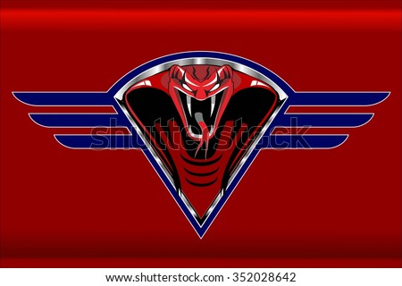 Red Cobra on the silver metallic winged diamond shield, over the red background.  - stock vector