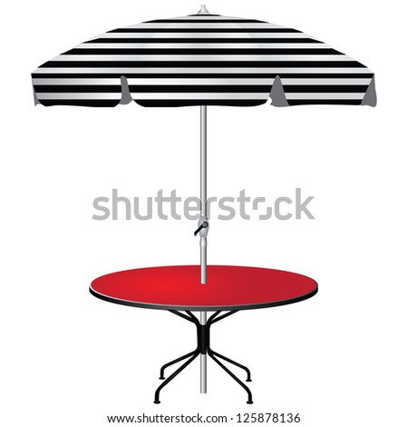 Red coffee table with an umbrella in the black strip. Vector illustration. - stock vector