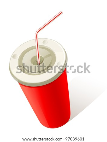 Red Cold Drink Cup - stock vector