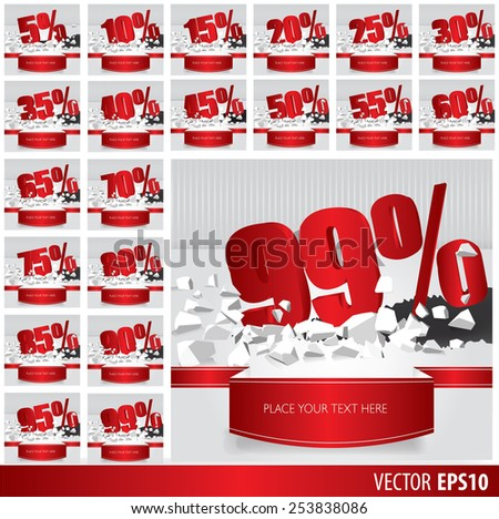 Red collection discount  5  10 15 20 25 30 35 40 45 50 55 60 65 70 75 80 85 90 95 99  percent  on vector cracked ground on white background - stock vector