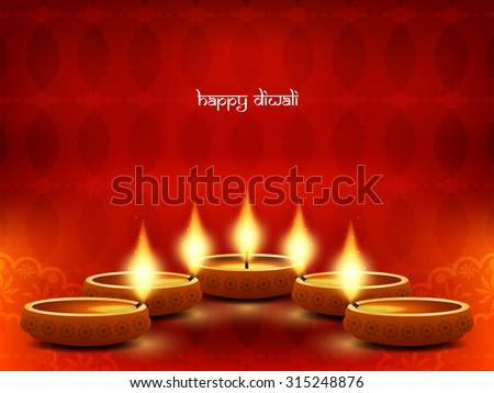 Red color beautiful happy diwali card design. - stock vector