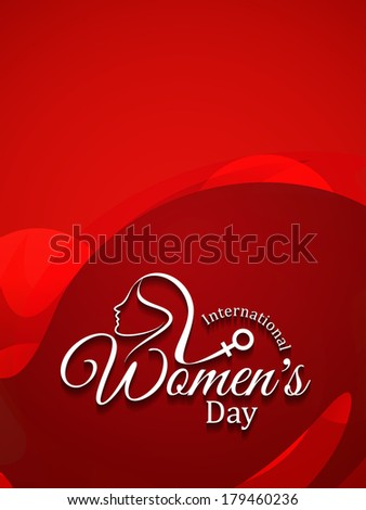 red color elegant card design for women's day. vector illustration - stock vector