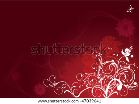 Red Color Floral Background