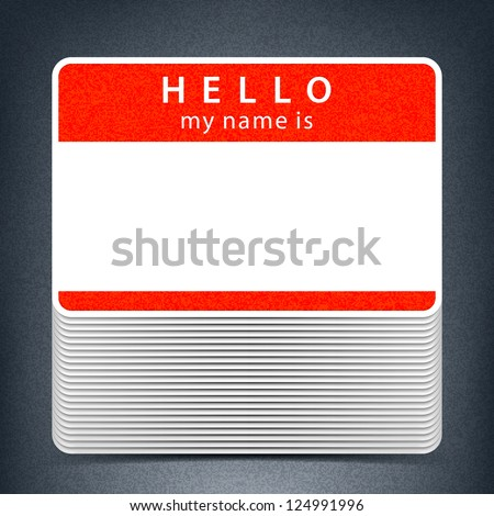 Red color name tag HELLO my name is. Pile blank stickers with drop gray shadow on gray background. Copy space for text. Vector illustration clip-art element for design saved in 10 eps