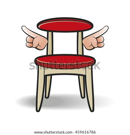 red colored chair with hands-vector drawing