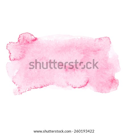 Red colorful abstract hand draw watercolour aquarelle art paint splatter stain on white background Vector illustration. - stock vector