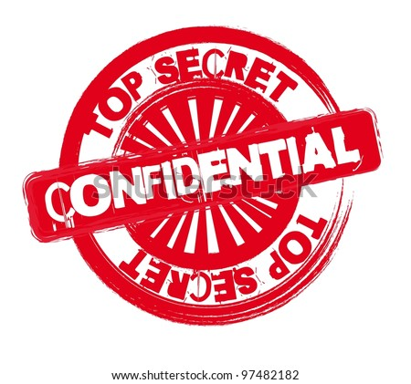 red confidential stamp isolated over white background. vector - stock vector