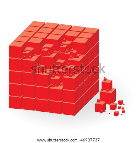 Red construction set of cubes, vector illustration - stock vector