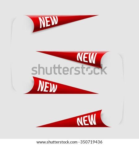 Red Corner New Labels. Vector. - stock vector