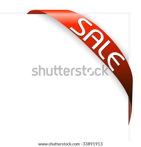 Red corner ribbon for items with sale in your eshop - stock vector