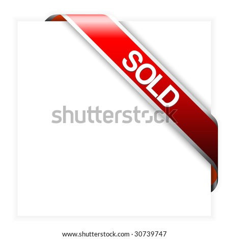 Red corner ribbon for sold items in your eshop - stock vector