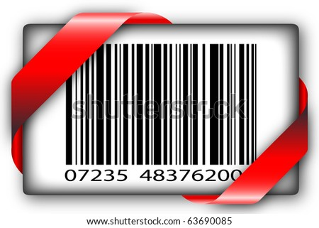 Red corner ribbon with barcode