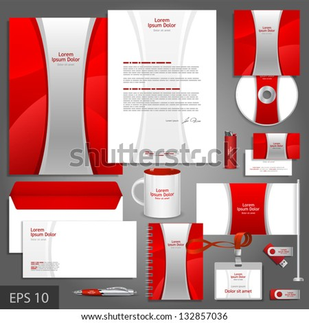Red corporate identity template with silver stripe. Vector company style for brandbook and guideline. EPS 10 - stock vector
