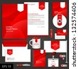red corporate identity template with white arrow. Vector company style for brandbook and guideline. EPS 10 - stock photo