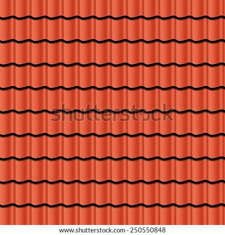 red corrugated tile element roof seamless stock vector