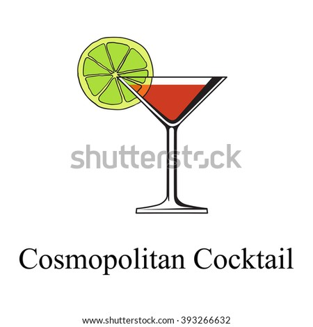 Red Cosmopolitan Cocktail served with a slice of a lime, isolated on a white background - stock vector