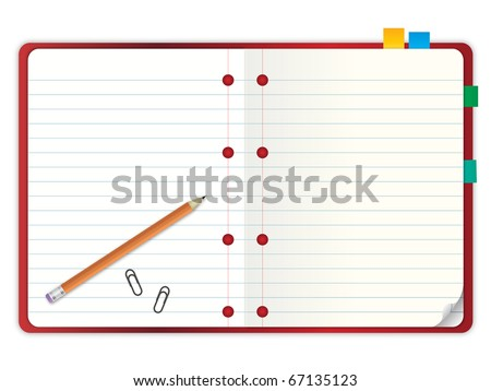 red cover blank notebook with grid line paper open two pages with pencil and stationary vector illustration - stock vector