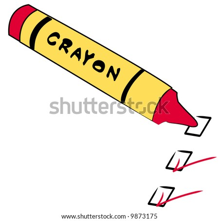 red crayon with to do boxes checked - vector - stock vector