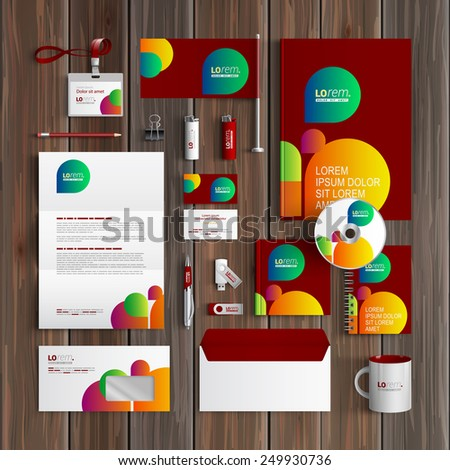 Red creative corporate identity template design with color shapes. Business stationery - stock vector
