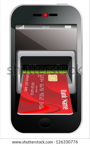 Red Credit Card and modern mobile phone on a white background - stock vector