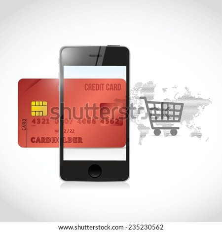 red credit cart phone shopping concept illustration design over a white background