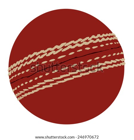 Red cricket ball vector isolated icon, traditional sport, equipment