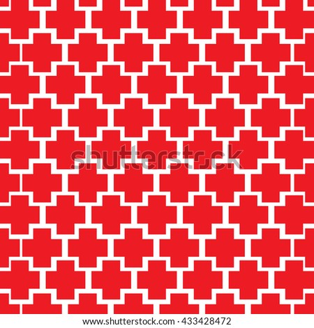 RED Cross box seamless pattern - stock vector