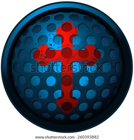 Red Cross Sign On Round Perforated Stock Photo Photo Vector