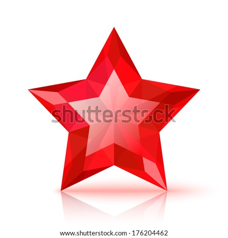 Red crystal star isolated on white background - stock vector