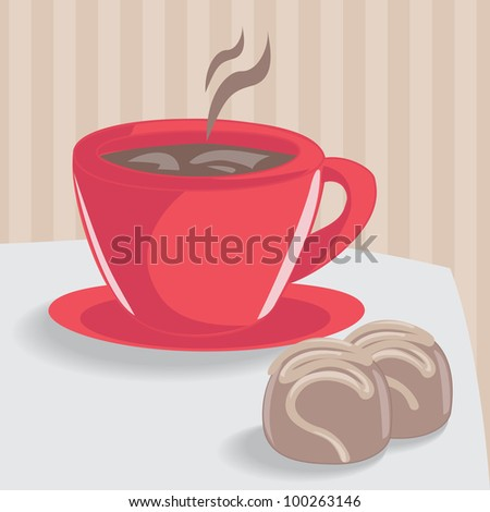 Red cup of coffee and two chocolate cakes - stock vector