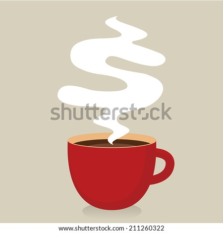 Red cup of coffee with smoke, Idea concept