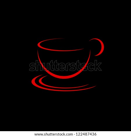 Red cup on black background