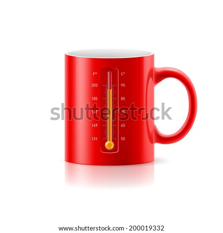 Red cup with a built-in thermometer on white background - stock vector