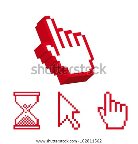 red cursor and 3d cursor hands isolated over white background. vector - stock vector