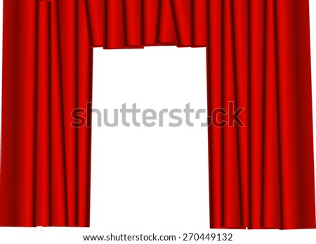 red curtain - stock vector