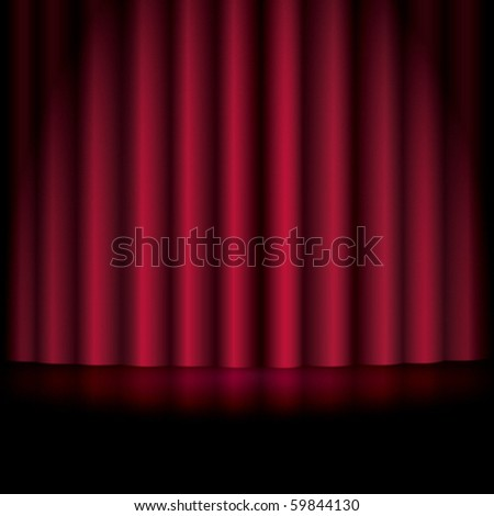 Red Curtain Background - stock vector