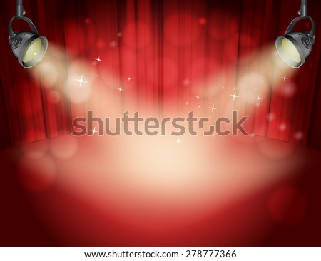 red curtain background with light yellow spot lights - stock vector