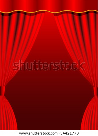 Red curtain for a background in a vector
