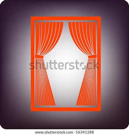 Red curtain icon on rectangular frame on bluish background - stock vector