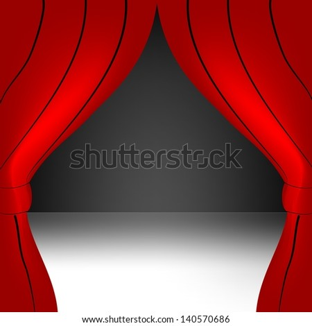 Red curtain open - stock vector