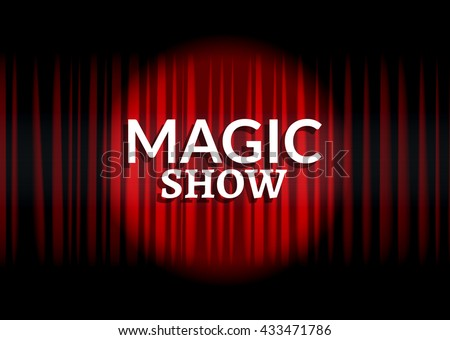 Red curtain with circle light. Magic show concept poster template design. - stock vector