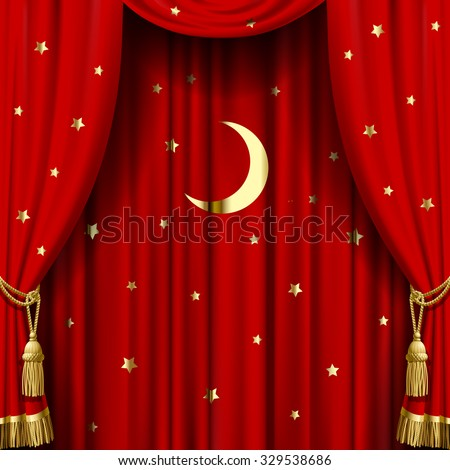 Red curtain with gold tassels, moon and stars. Square theater and Christmas background. Artistic poster.  Vector Illustration - stock vector