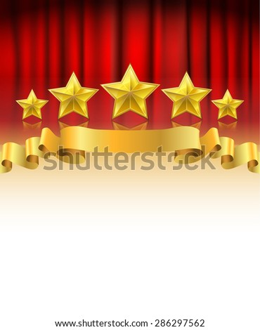 red curtain with golden stars and a ribbon background with white space - stock vector